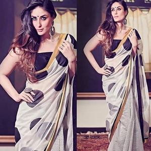 Designer White Printed Design Heavy Linen Cotton Saree - Bollywood Replica Saree