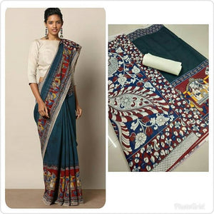 Exclusive Teal Color Printed Designe Heavy Linen Cotton Saree - Bollywood Replica Saree