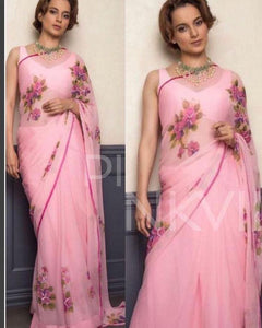 Attractive Peach Color Flower Printed Design Heavy Linen Cotton Saree - Bollywood Replica Saree