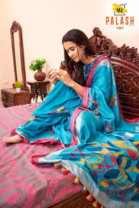 Exclusive Blue Color Flower Printed Design Heavy Linen Cotton Saree - Bollywood Replica Saree
