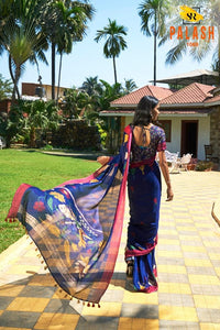 PartywearRoyal Blue Color Flower Printed Design Heavy Linen Cotton Saree - Bollywood Replica Saree