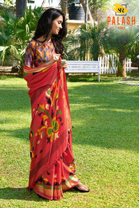 Refreshing Tometo Color Flower Printed Design Heavy Linen Cotton Saree - Bollywood Replica Saree