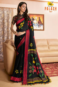 Staylish Black Color Flower Printed Design Heavy Linen Cotton Saree - Bollywood Replica Saree