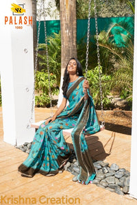 Staylish Teal Color Flower Printed Design Heavy Linen Cotton Saree - Bollywood Replica Saree