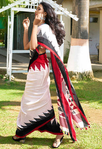 Attractive White Color With Black And Red Boarder Linen Saree. - Bollywood Replica Saree