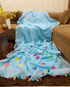 Attractive Sky Blue Printed Design Heavy Linen Cotton Saree - Bollywood Replica Saree