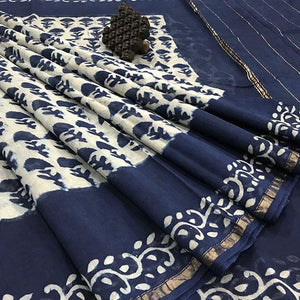 White Color With Navy Color Flower Printed Design Heavy Linen Cotton Saree - Bollywood Replica Saree