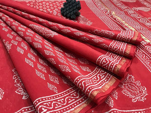 Refrashing Red Color Printed Design Heavy Linen Cotton Saree - Bollywood Replica Saree