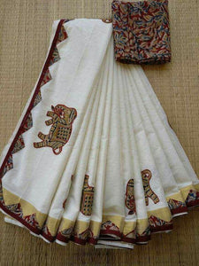 White Printed Design Heavy Linen Cotton Saree - Bollywood Replica Saree