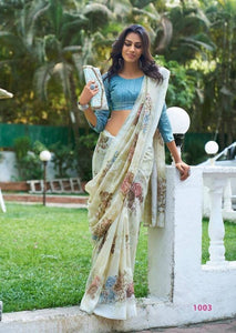 Stylish White Color Printed Design Heavy Linen Cotton Saree - Bollywood Replica Saree