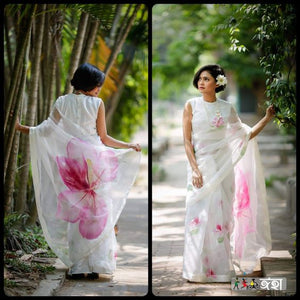 Exclusive White Color With pink Flower Printed Designe Heavy Linen Cotton Saree (1599) - Bollywood Replica Saree
