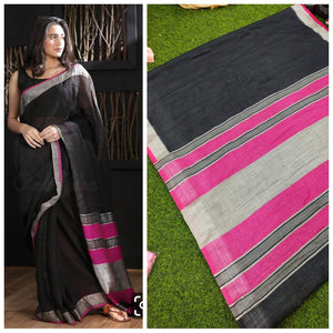 Stylish Design Black Color Printed Linen Saree. - Bollywood Replica Saree