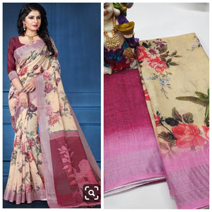 Stylish Cream Color Flower Printed Heavy Linen Saree. - Bollywood Replica Saree