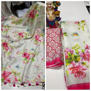 Attractive Off White Color Flower Printed Heavy Linen Saree. (ms1637) - Bollywood Replica Saree