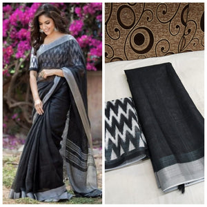 Trandy Black Color Heavy Linen Saree. - Bollywood Replica Saree