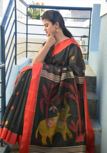 Trandy Black Color Digital Printed Heavy Linen Saree. - Bollywood Replica Saree