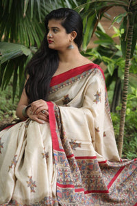 Stylish Off White Color Digital Printed Heavy Linen Saree. - Bollywood Replica Saree