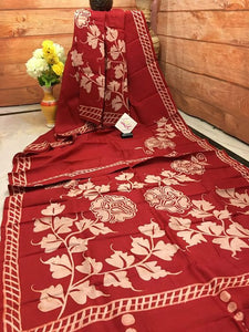 Designer Red Color Flower Digital Printed Heavy Linen Cotton Saree - Bollywood Replica Saree