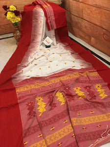Designer White With Red Color Boarder Printed Heavy Linen Cotton Saree - Bollywood Replica Saree