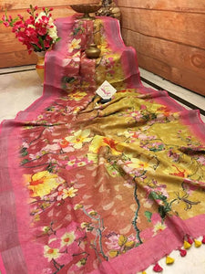 Designer Yellow And Pink Flower Printed Heavy Linen Cotton Saree - Bollywood Replica Saree