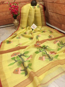 Designer Yellow With Multi Printed Heavy Linen Cotton Saree - Bollywood Replica Saree