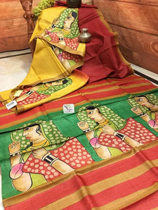 Designer Yellow With Colorfull Digital Printed Heavy Linen Cotton Saree - Bollywood Replica Saree