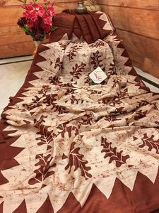 Designer Beige Color Digital Printed Heavy Linen Cotton Saree - Bollywood Replica Saree