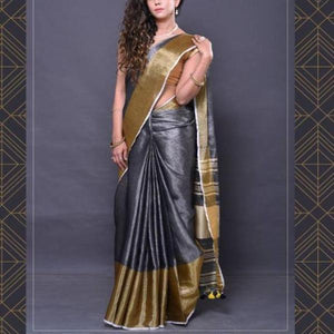 Designer Gray Color Heavy Linen Cotton Saree.. - Bollywood Replica Saree