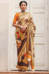 Partywear Brown Color Printed Design Heavy Linen Cotton Saree.. - Bollywood Replica Saree