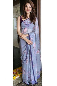 Partywear Purple Color Printed Design Heavy Linen Cotton Saree.. - Bollywood Replica Saree