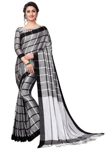 Partywear Gray Color Printed Design Heavy Linen Cotton Saree.. - Bollywood Replica Saree