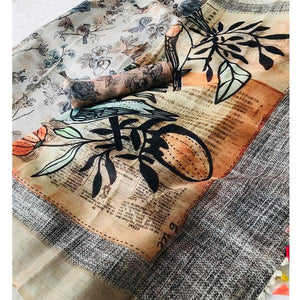 Attractive Gray Color Printed Design Heavy Linen Cotton Saree..(ms1730) - Bollywood Replica Saree