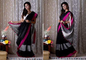 Designer Black Color Printed Design Heavy Linen Cotton Saree.. - Bollywood Replica Saree