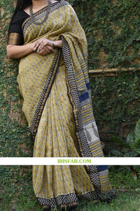Attractive Beige Color Printed Heavy Linen Cotton Saree(ms1752) - Bollywood Replica Saree