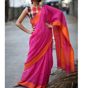 Exclusive Pink Color Heavy Linen Cotton Saree - Bollywood Replica Saree