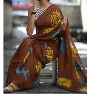 Attractive Brown Color Flower Printed Heavy Linen Cotton Saree (ms1766) - Bollywood Replica Saree