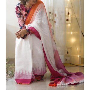 Exclusive White Color Flower Printed Heavy Linen Cotton Saree - Bollywood Replica Saree