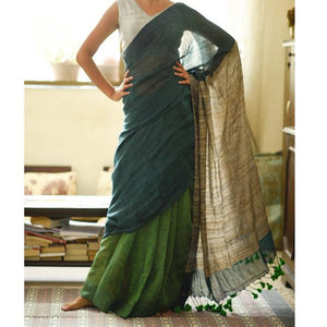 Exclusive Green Color Flower Printed Heavy Linen Cotton Saree - Bollywood Replica Saree