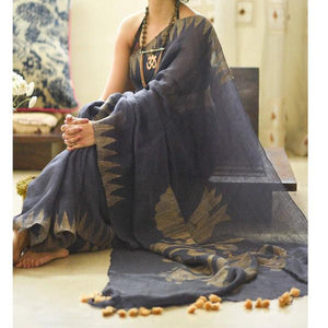 Exclusive Gray Color Flower Printed Heavy Linen Cotton Saree (1769) - Bollywood Replica Saree