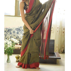 Exclusive Green Color Heavy Linen Cotton Saree - Bollywood Replica Saree