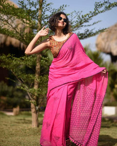 Designer Pink Color Flower Printed Heavy Linen Cotton Saree - Bollywood Replica Saree