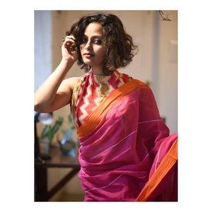 Designer Pink Color Printed Heavy Linen Cotton Saree - Bollywood Replica Saree