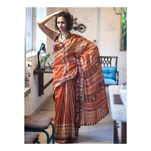 Designer Brown Color Digital Printed Heavy Linen Cotton Saree - Bollywood Replica Saree