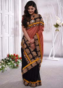 Traditional Black Kalamkari Printed Design Heavy Linen Cotton Saree. (1835) - Bollywood Replica Saree