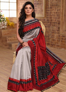 Designer Gray And Red Printed Design Heavy Linen Cotton Saree. - Bollywood Replica Saree