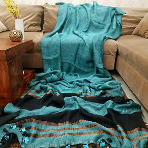 Wonderfull Teal Color Printed Heavy Linen Saree. - Bollywood Replica Saree