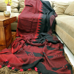 Exclusive Black Color Red Digital Printed Heavy Linen Saree. - Bollywood Replica Saree