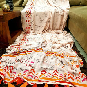 Trandy Cream Color Printed Heavy Linen Saree. - Bollywood Replica Saree