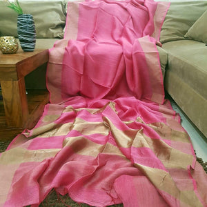 Attractive Pink Color Heavy Linen Saree. - Bollywood Replica Saree