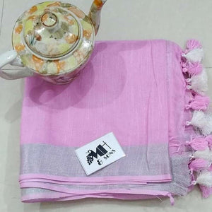 Wonderfull Baby Pink Color Digital Printed Heavy Linen Saree. - Bollywood Replica Saree
